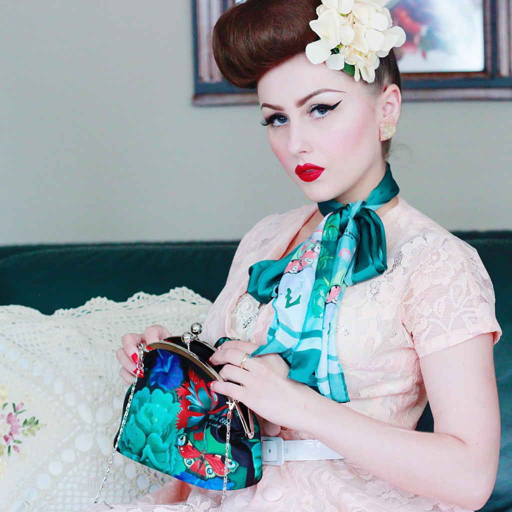 Retro clip purse, clutch bag, Burlesque