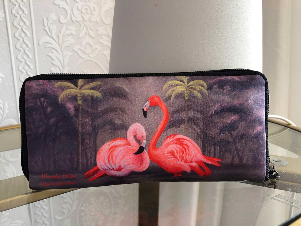 Retro wallet, vintage wallet, Flamingo