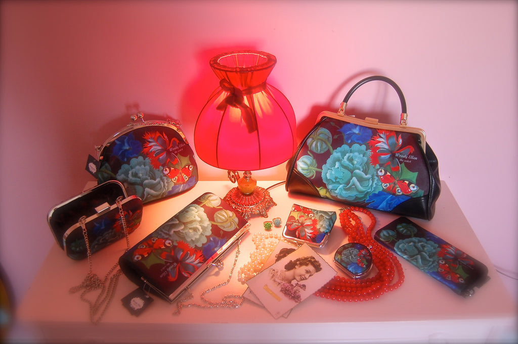 retro handbag set, vintage handbag set,Burlesque,christmas,gifts,gifts for her,Woody Ellen handbag,christmas gifts,christmas gift ideas