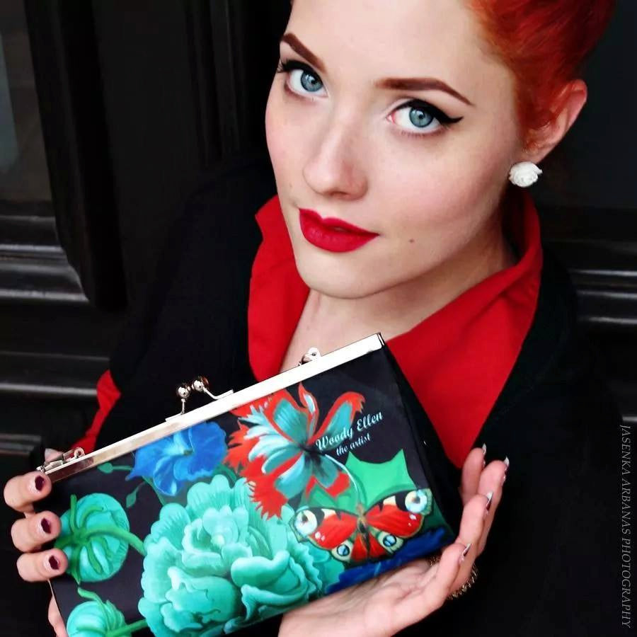Retro clutch large,clutch bag,Burlesque,birthday gift,gifts for her,gifts for mom,Woody Ellen handbag,christmas gifts,christmas gift ideas