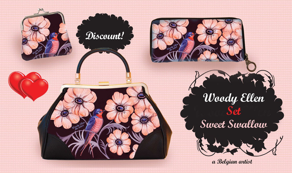 retro handbag set, vintage handbag set,Sweet Swallow,christmas,gifts,gifts for her,Woody Ellen handbag,christmas gifts,christmas gift ideas