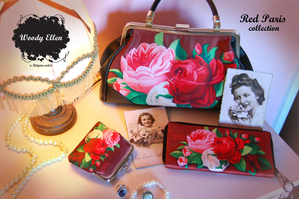 Retro handbag, vintage handbag, Red Paris, christmas, gift for her, gift for mom, Woody Ellen bag, valentine gift, christmas gift ideas