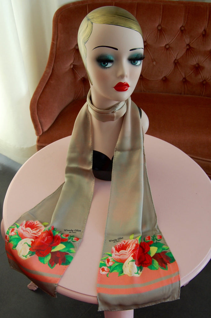 Silk scarf,Red Paris,birthday gift,gifts for her,gifts for mom,Woody Ellen handbag,christmas gifts,christmas gift ideas,new year gifts ideas