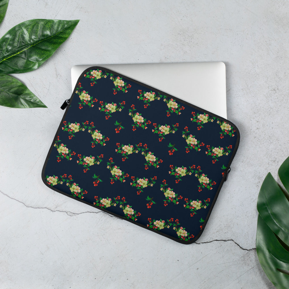 Blossom Navy Laptop Sleeve