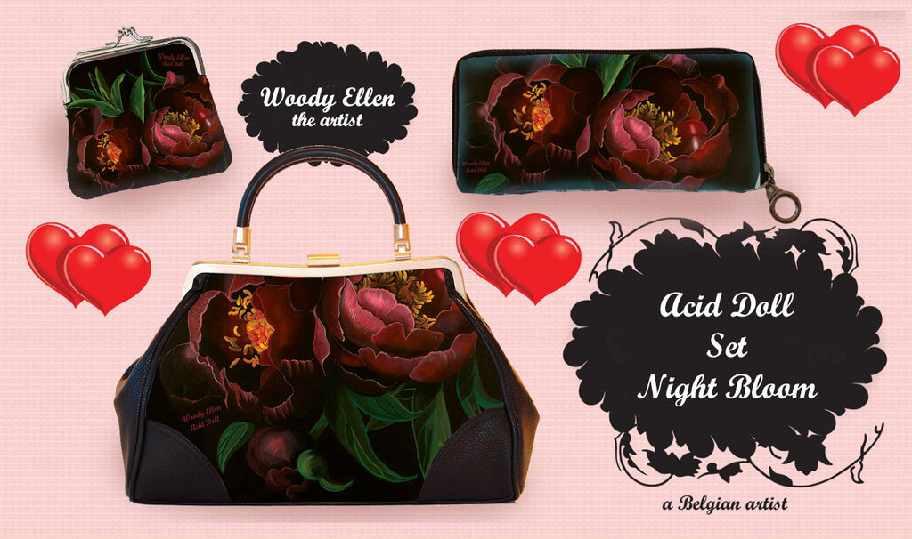 Retro handbag set of 3, Night Bloom, Acid Doll