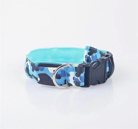 Night Safety LED Collar Nylon Camouflage