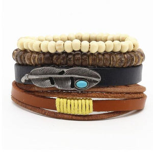 Weave Punk Bead Leather Bracelet (17 variants)
