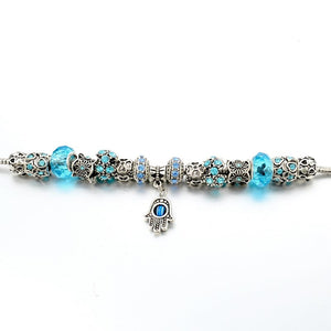 Blue Or Purple Hamsa Charm Bracelet - Women Bracelets