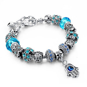 Blue Or Purple Hamsa Charm Bracelet - Blue - Women Bracelets