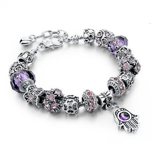 Blue Or Purple Hamsa Charm Bracelet - Purple - Women Bracelets