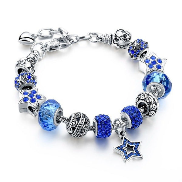 Blue Crystal Star Charm Bracelets - Blue - Women Bracelets