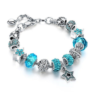 Blue Crystal Star Charm Bracelets - Light Blue - Women Bracelets