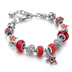 Blue Crystal Star Charm Bracelets - Red - Women Bracelets