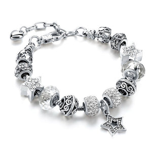 Blue Crystal Star Charm Bracelets - White - Women Bracelets