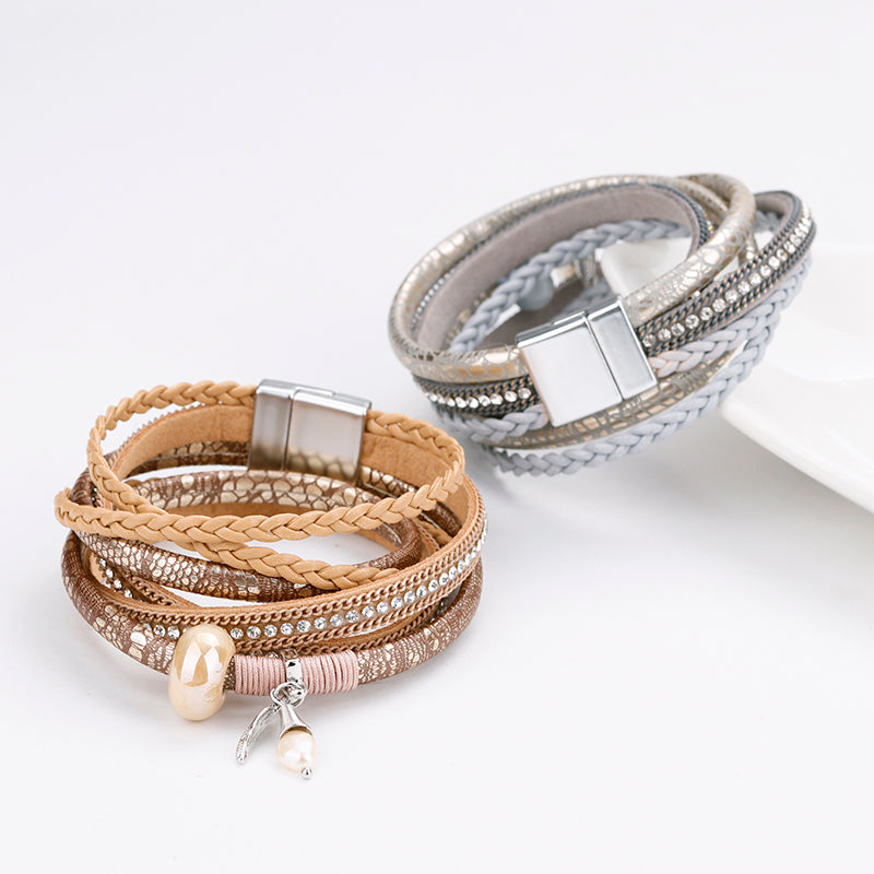 Natural Pearl and Leaf Charm Multilayer Bracelet (2 variants)