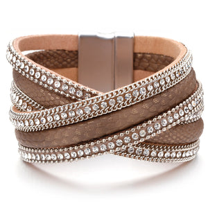 Snake Skin Pattern Rhinestone Multilayer Bracelet (3 variants)