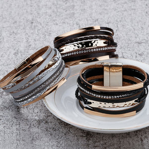 Multilayer Braided Rhinestone Bracelet (3 variants)