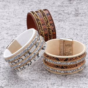 Bohemian Rhinestone Leather Bracelet (3 Variants) - Women Bracelets