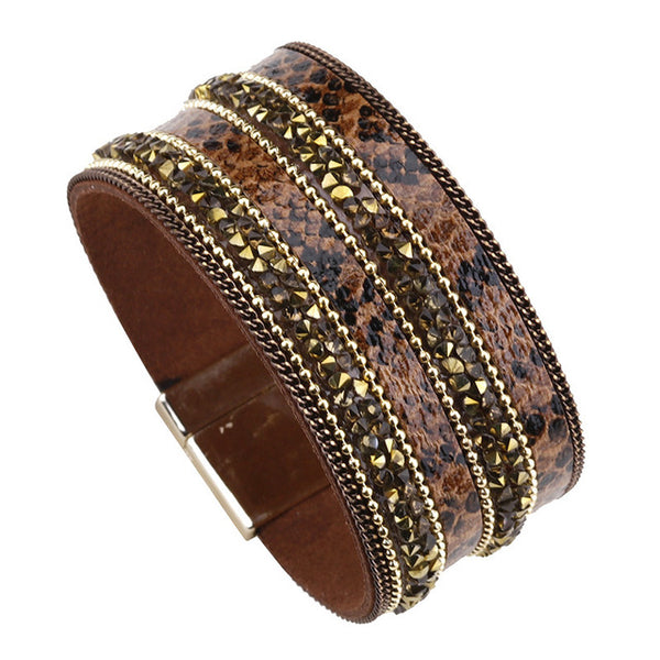 Bohemian Rhinestone Leather Bracelet (3 Variants) - Brown - Women Bracelets