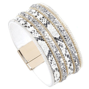 Bohemian Rhinestone Leather Bracelet (3 Variants) - White - Women Bracelets