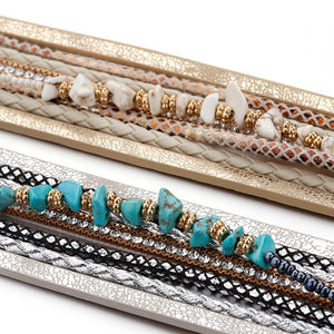 Boho Rhinestone Leather Bracelet (2 Variants) - Women Bracelets
