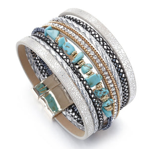 Boho Rhinestone Leather Bracelet (2 Variants) - Blue - Women Bracelets