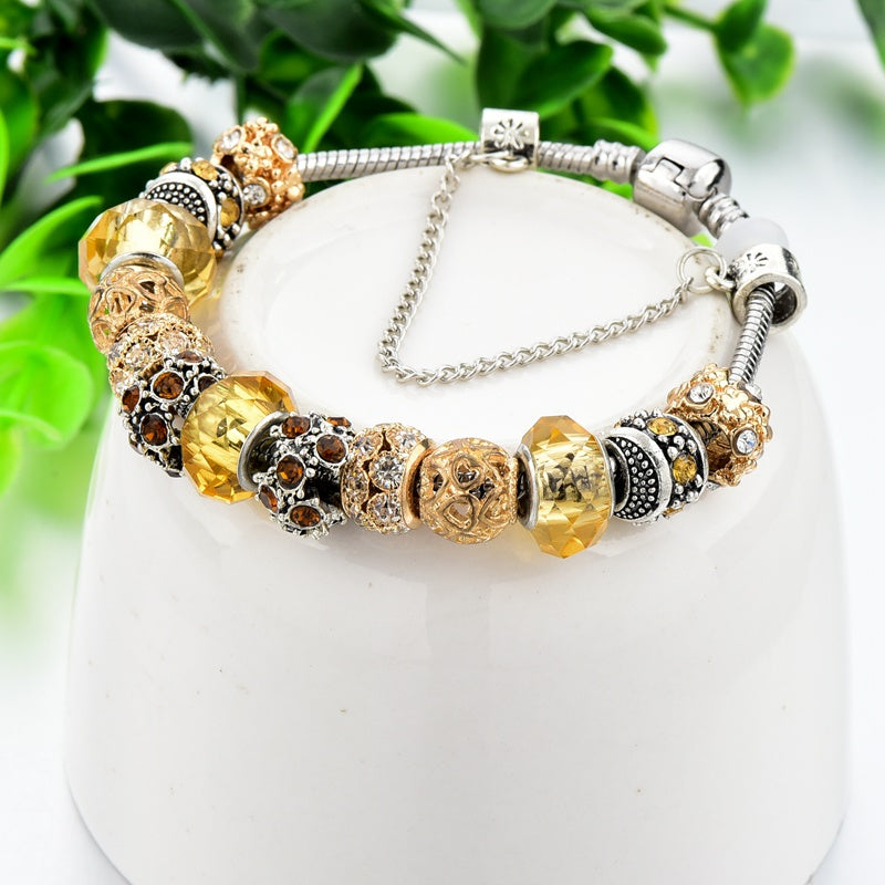 Crystal Beads Gold Charm Bracelet - Women Bracelet
