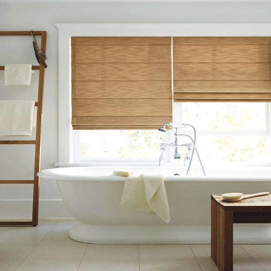 Side view of Hunter Douglas Roman shade window treatment from the Design Studio collection