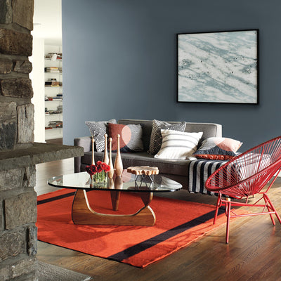 Benjamin Moore 2127-40 Wolf Gray in living room. Shop 2018 color trends blue/gray paint tones.