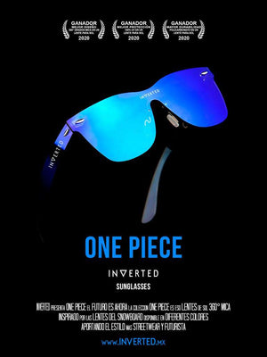 Lentes de sol 2020 INVERTED One Piece Future Blue fashion azul Moda Monterrey Mexico pelicula