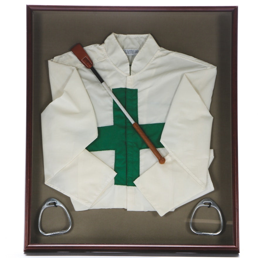 Race Fans! Framed Jockey Silks with Bat and Stirrups