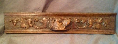 Architectural Element Oak Panel Hunting Dog with Oak Leaves and Acorns English