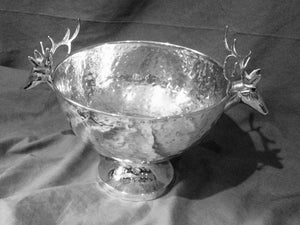Bowl - Pedestal - Hammered with Stag Handles - Silver Wash Over Copper - Large - Vintage