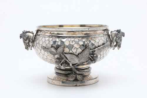 Bowl - Footed - Silver Plate - Meridan Company - Honeycomb and Vine - Horse Head Handles