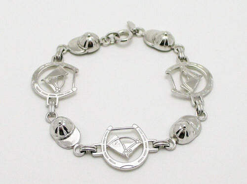 Bracelet Sterling Silver Link Featuring Horse Profile Inside Horseshoes and Jockey Caps