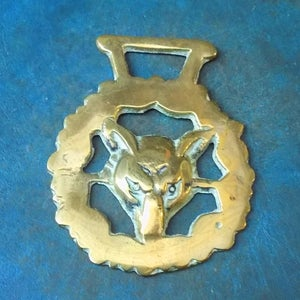 Brass Fox Mask Vintage Horse Medallion