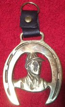 Key Ring - English Brass Medallion with Jockey