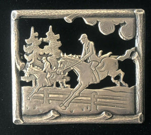 Brooch Sterling Silver Hunt Scene
