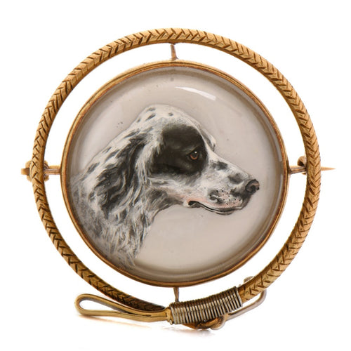 Brooch - Magnificent Estate English Springer Spaniel Reverse Carved Crystal Brooch Set in 14kt Yellow Gold