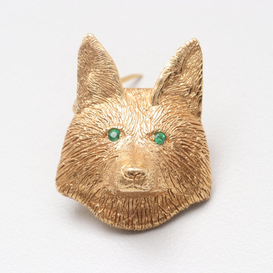 Brooch - 18kt Yellow Gold - Fox Mask with Emerald Eyes