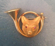 Brooch Vintage Fox Mask and French Horn Form 14kt and Rubies