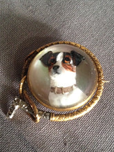 Brooch Reverse Intaglio Russell Terrier 18 kt Yellow Gold and Rose Diamond Hunt Whip Frame