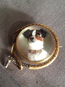 Brooch Reverse Intaglio Russell Terrier 18kt Yellow Gold and Rose Diamond Hunt Whip Frame