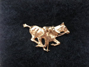 Brooch Polo Player in Mid Swing on Galloping Horse with a Ruby Eye Form 14kt Gold