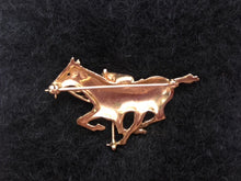 Brooch - Polo Player in Mid Swing on Galloping Horse with a Ruby Eye 14kt Statement Piece