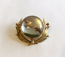 Brooch Reverse Carved Painted Crystal Brace of Quail 14kt Gold