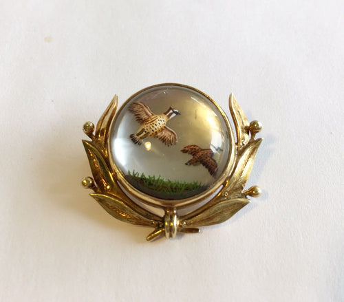 Brooch Reverse Carved Painted Crystal Brace of Quail 14 kt Yellow Gold