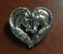Brooch/Pendant Sterling Silver Double Horse Busts with Ruby Eyes in Horse Mane Frame Form