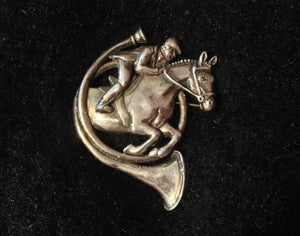 Brooch Sterling Silver Mounted Rider Jumping Through French Horn