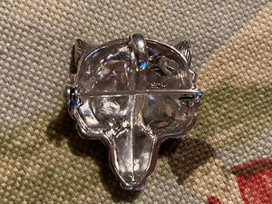 Brooch or Pendant Fox Mask Sterling Silver and Emeralds
